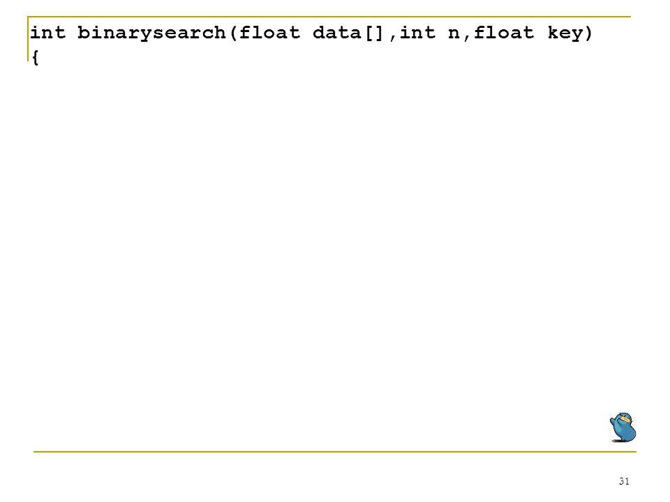 int binarysearch(float data[],int n,float key)